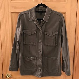 Distressed Military Demin Jacket - size 4 / S